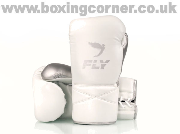 Fly Superlace X Boxing Gloves White Silver