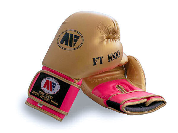 Main Event FT 1000 Synthetic Leather Boxing Gloves Gold and Pink