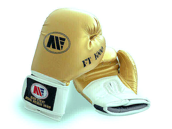 Main Event FT 1000 Synthetic Leather Boxing Gloves Gold + White
