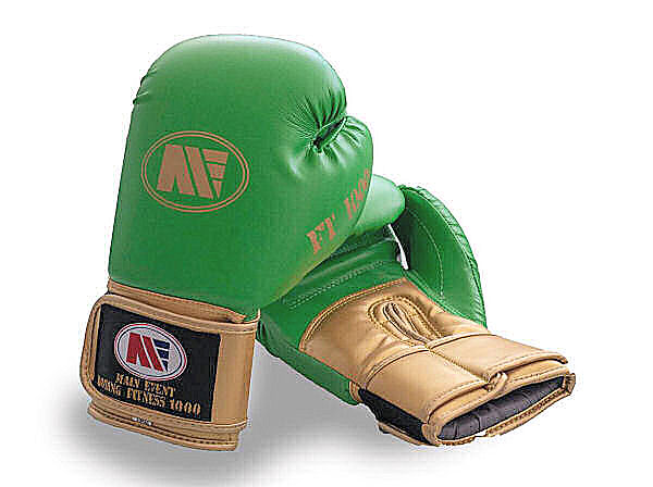 Main Event FT 1000 Synthetic Leather Boxing Gloves Green + Gold