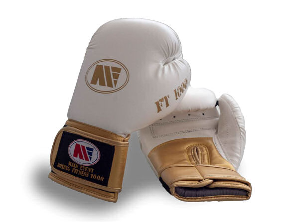 Main Event FT 1000 Synthetic Leather Boxing Gloves White + Gold