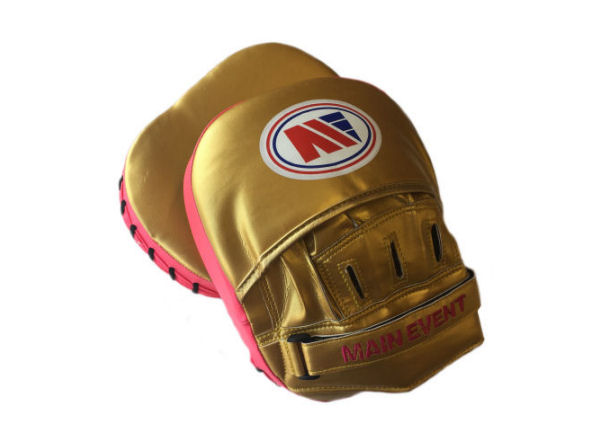 Main Event Boxing Fitness Boxercise Focus Pads Mitts Pink Gold