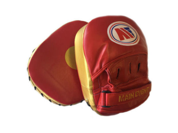 Main Event Boxing Fitness Boxercise Focus Pads Mitts Red Gold