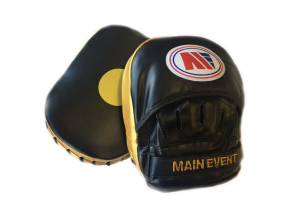 Main Event Boxing Fitness Boxercise Focus Pads Mitts Black Gold