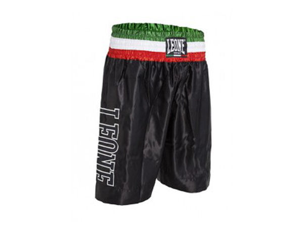 Leone 1947 Boxing Satin Shorts - Italia Waistband - Black