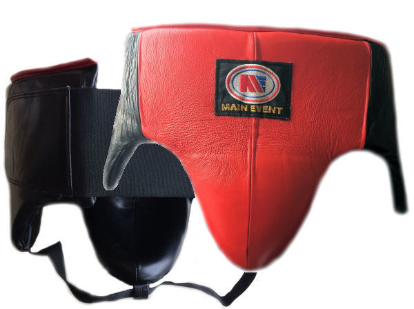 Main Event Pro Gel Groin Guard Kidney Protector Red Black