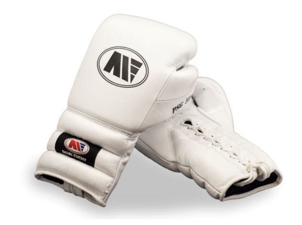 Main Event Limited Edition Pure White Pro Boxing Gloves - Laces