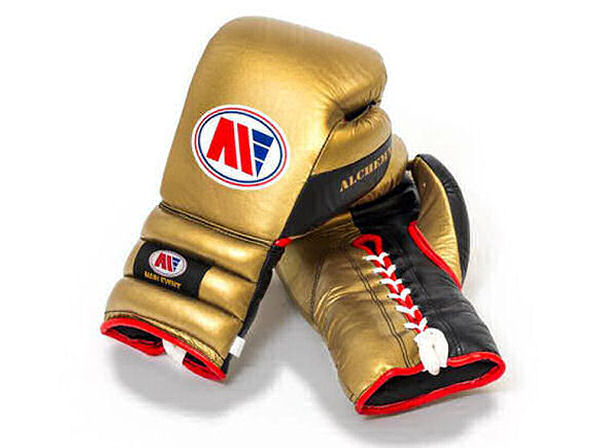 Main Event Alchemy Pro Spar Boxing Gloves Gold and Black Laces