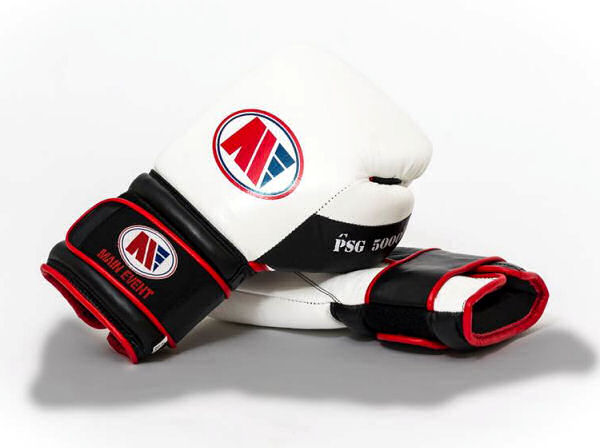 Main Event Boxing PSG 5000 Pro Spar Gloves - White Top - Velcro
