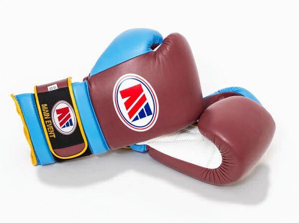 Main Event Boxing Pro Training Gloves - Claret and Blue