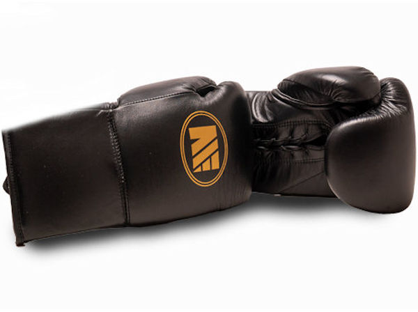 Main Event Super Spar Leather Pro Boxing Gloves Black Lace Up