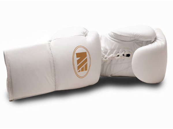 Main Event Super Spar Leather Pro Boxing Gloves White Lace Up