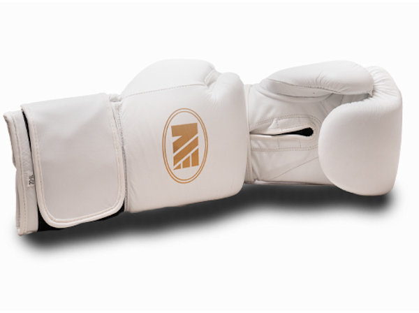 Main Event Super Spar Leather Pro Boxing Gloves White Velcro