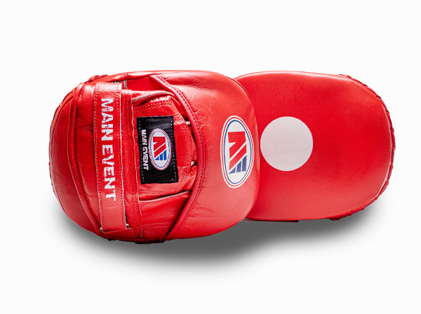 Main Event Boxing Leather Focus Pads Mitts Red