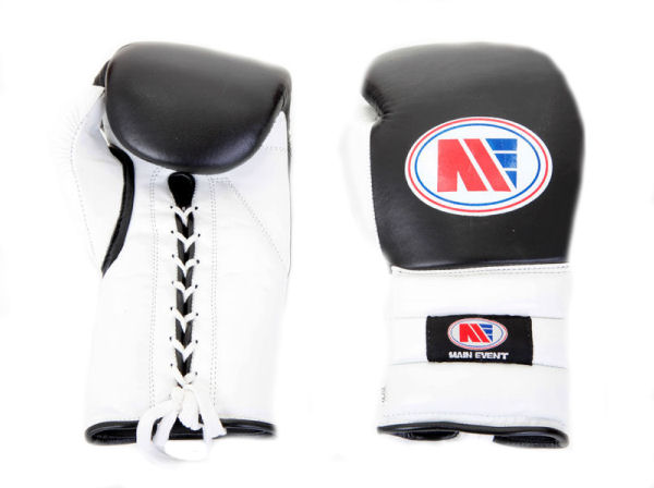 Main Event Boxing Lace Up Training Gloves PTG1000 Black & White