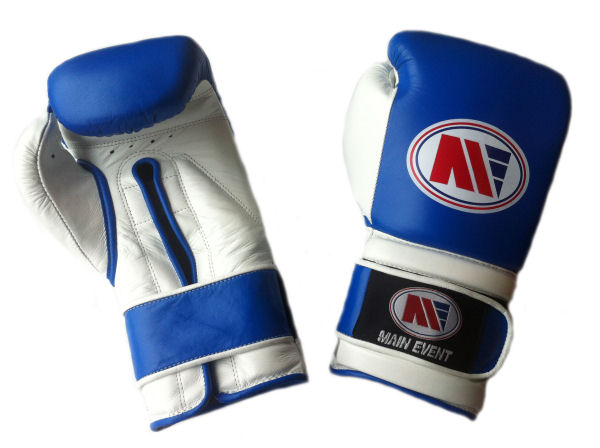 Main Event Pro Training Boxing Gloves PTG 1000 Blue and White
