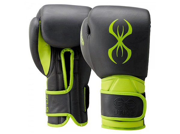 Sting Boxing Predator Leather Sparring Gloves Black Green Velcro