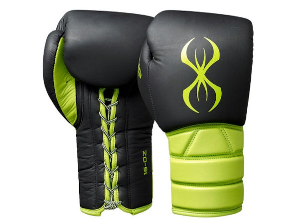 Sting Boxing Predator Leather Sparring Gloves Black Green Laces