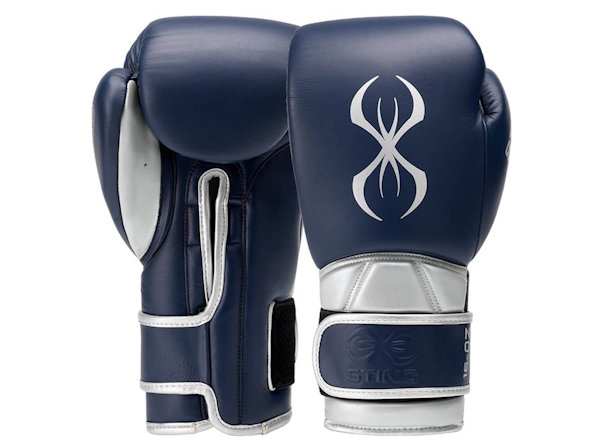 Sting Boxing Predator Leather Sparring Gloves Navy Silver Velcro