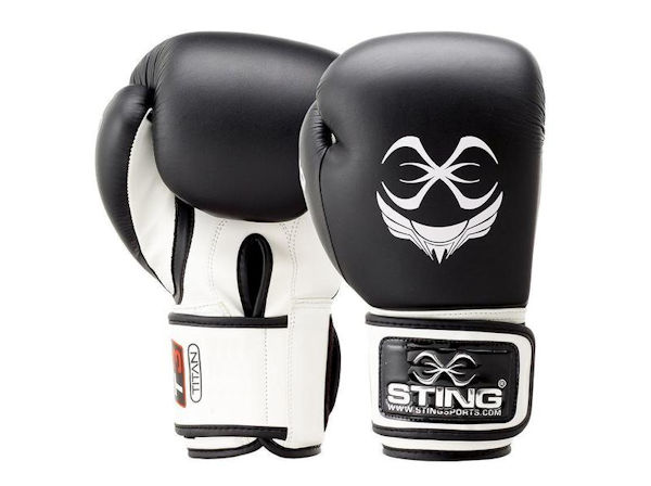 Sting Boxing Titan Leather Training Gloves Black White Velcro