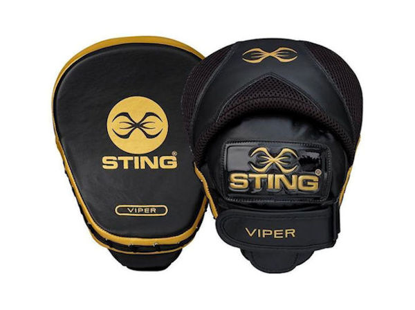 Sting Boxing Viper Speed Leather Gel Focus Pads Mitts Black Gold