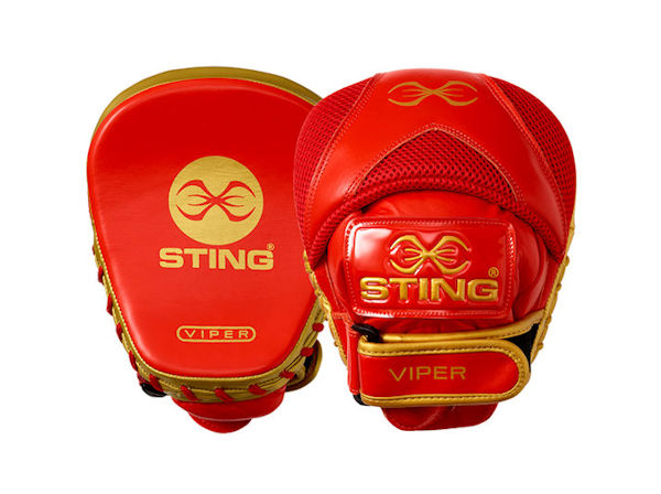 Sting Boxing Viper Speed Leather Gel Focus Pads Mitts Red Gold