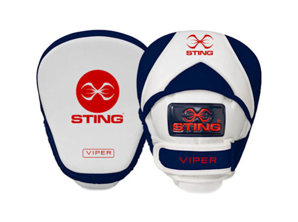Sting Boxing Viper Speed Leather Gel Focus Pads Mitts White Navy