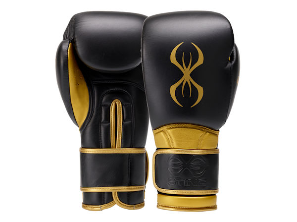 Sting Boxing Viper X Leather Sparring Gloves Black Gold Velcro