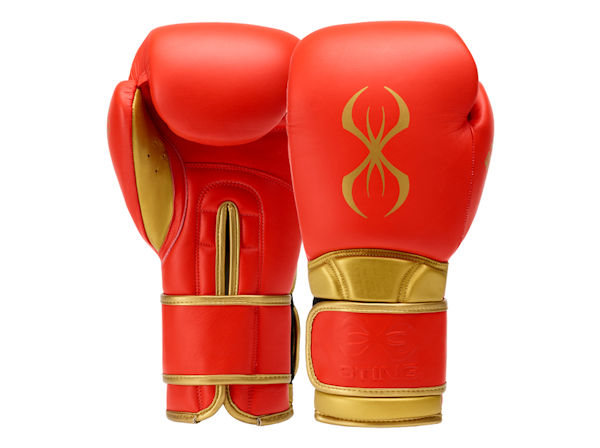 Sting Boxing Viper X Leather Sparring Gloves Red Gold Velcro