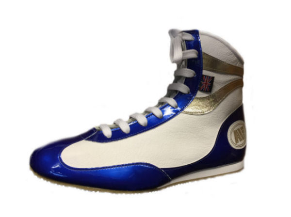 Main Event Alchemy Titanium Pro Elite Boxing Boots - White Blue