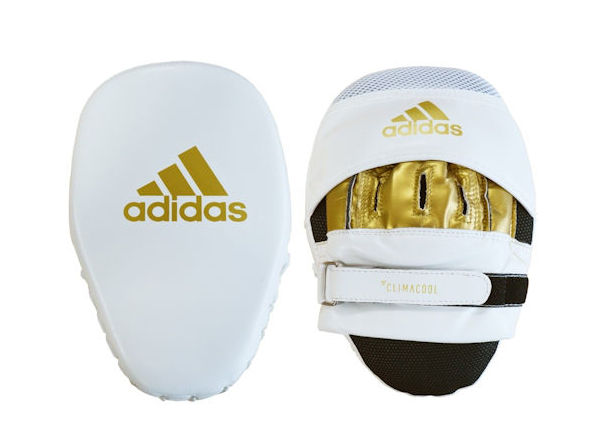 Adidas Boxing Fitness and Boxercise Focus Pads Mitts White Gold