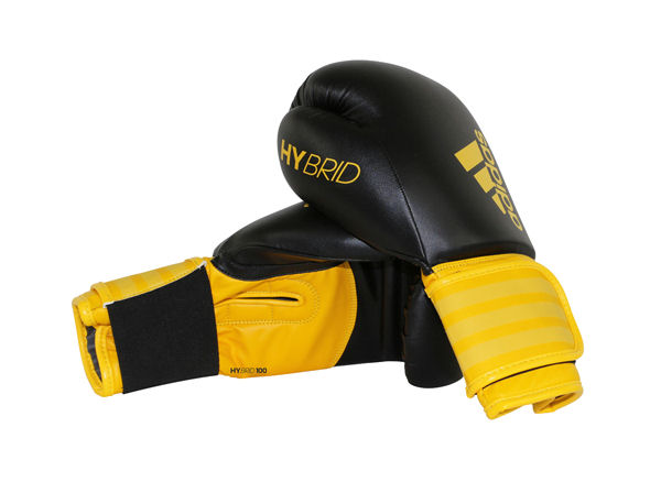 Adidas Hybrid 100 Boxing Gloves Box Fit Boxercise - Black Yellow