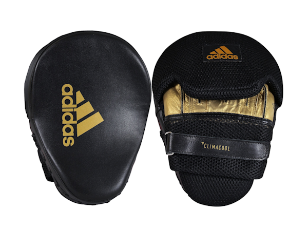 Adidas Boxing Leather Professional Focus Pads Mitts Black Gold