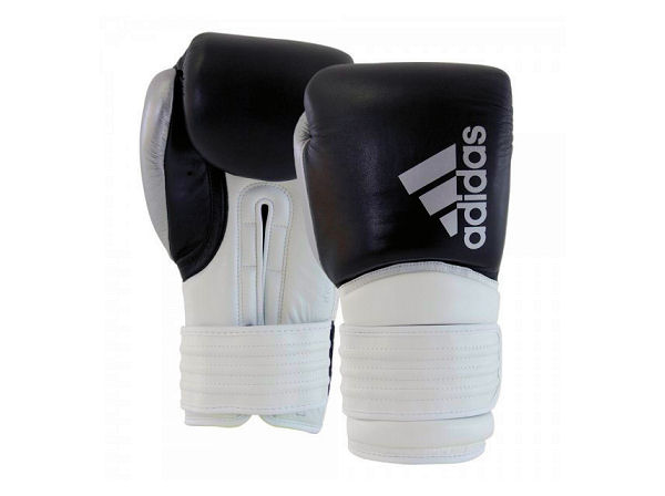 Adidas Hybrid 300 Full Leather Elite Boxing Gloves Black White