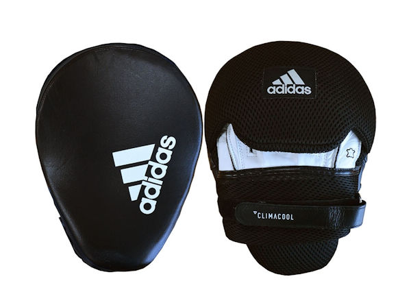 Adidas Boxing Leather Professional Focus Pads Mitts Black White