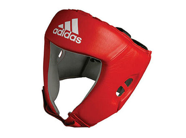 Adidas AIBA Licensed Stamped Amateur Boxing Headguard Red