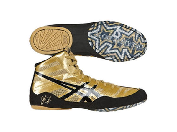 Asics Olympic JB Elite Boxing Wrestling Boots Gold Black