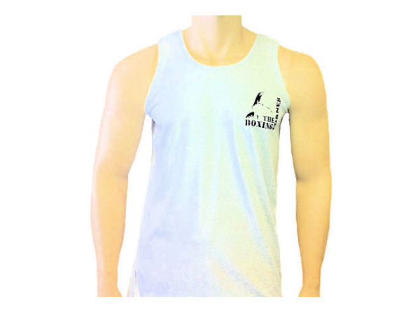 Boxing Corner Cotton Training Vest - Gym Casual - White