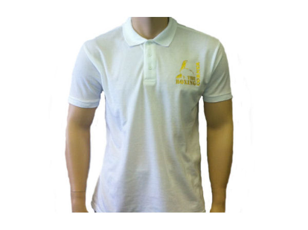 Boxing Corner Casual Training Gym Polo T Shirt Top - White