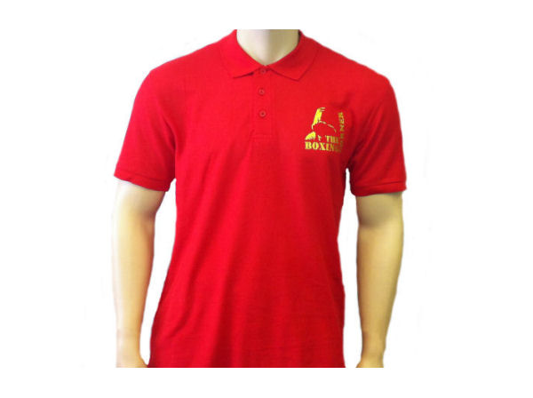Boxing Corner Casual Training Gym Polo T Shirt Top - Red