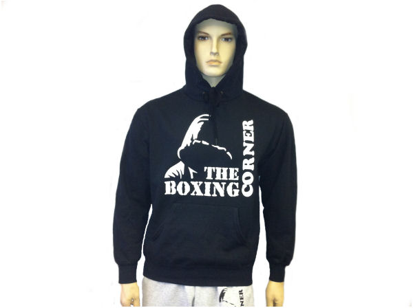Boxing Corner Hooded Top - Gym & Casual Hoody - Black