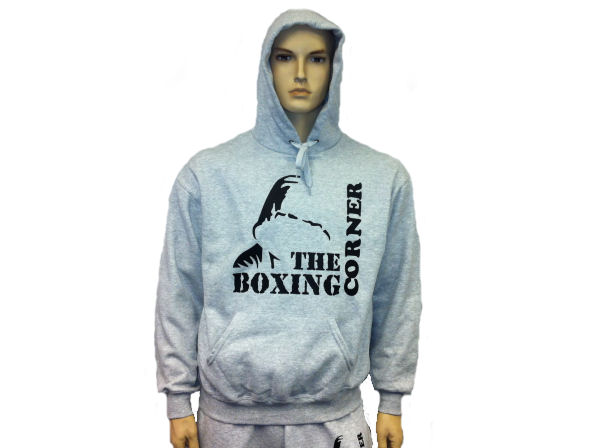 Boxing Corner Hooded Top - Gym & Casual Hoody - Grey