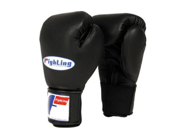 Fighting Sports Pro Punching Bag and Training Gloves - Black
