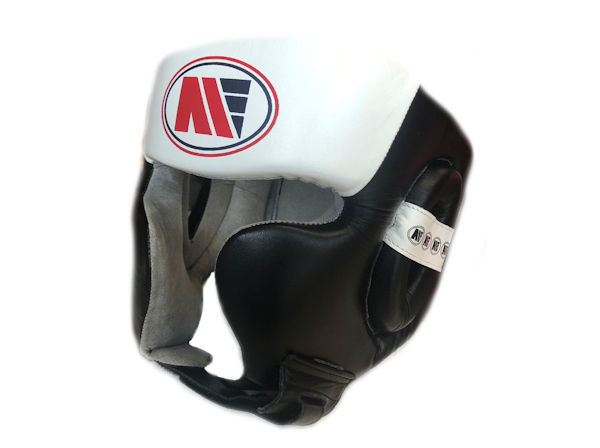 Main Event Pro Spar Head Guard with Cheek Protector Black White