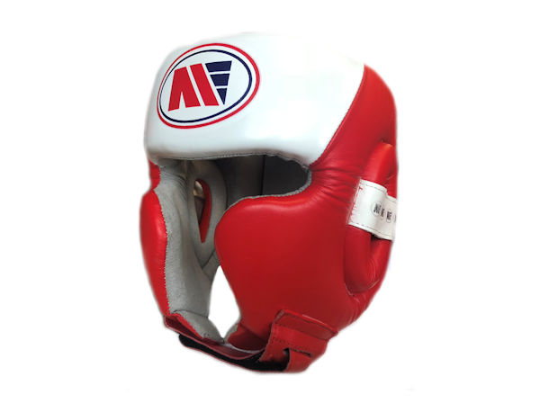 Main Event Pro Spar Head Guard with Cheek Protector Red White