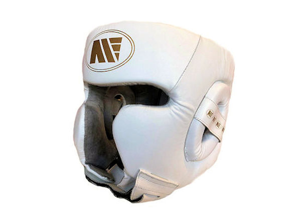 Main Event Pro Spar Head Guard with Cheek Protector White Gold