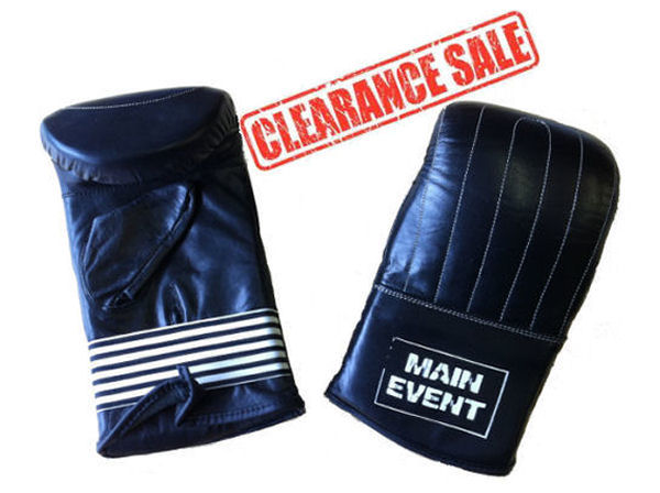 Main Event Boxing Leather Traditional Bag Mitts / Gloves - Black