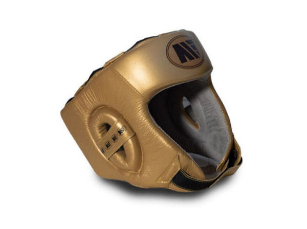 Main Event Boxing Childrens Leather Training Head Guard Gold