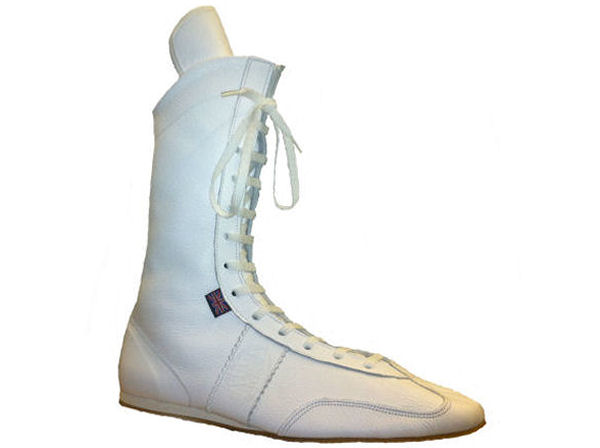 Main Event Pro Elite High Cut Leather Boxing Boots All White