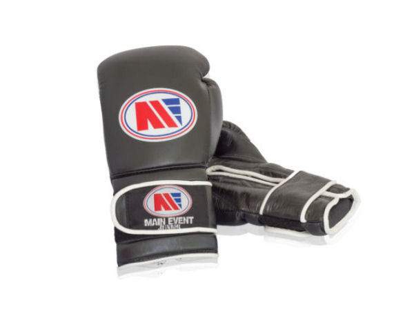 Main Event Boxing Childrens Kids Leather Training Gloves - Black